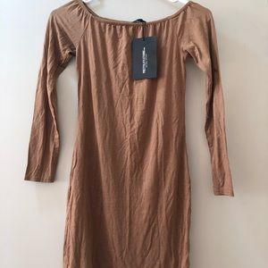 Brown off the shoulders dress